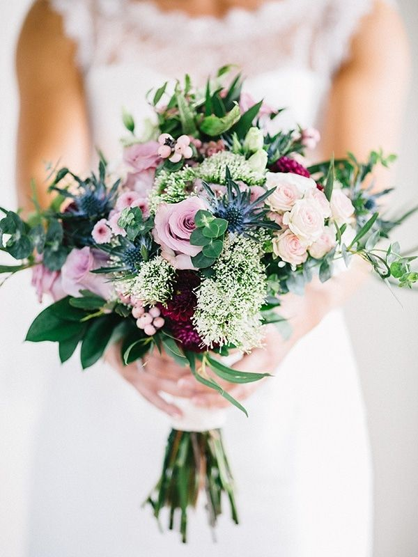 small pink, blue, and berry bouquet