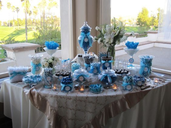 How to Set Up A Candy Bar - Blue Candy Table - Mazelmoments.com