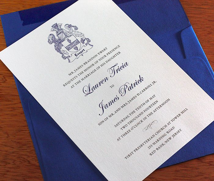 #Traditional family crest #wedding #invitations.