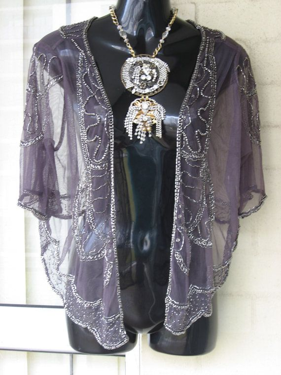 Last Day Vintage Sheer Eggplant Grey Tulle Silver Beaded