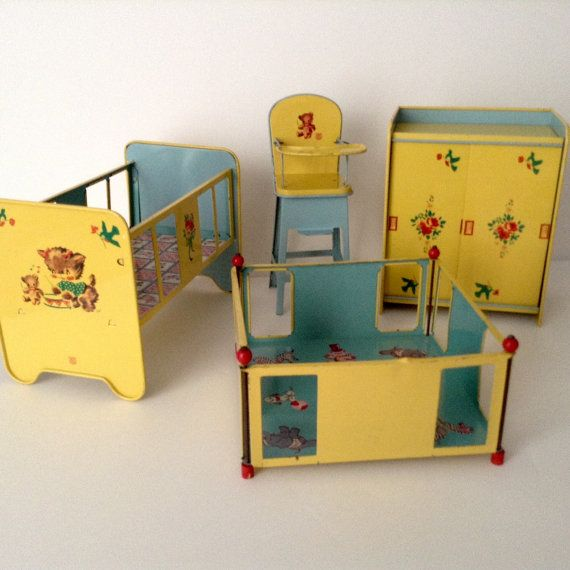 "1950's Four Piece Vintage Tin Toy Furniture: Crib 6"" Hx8.5""W High chair 8"" H x…"