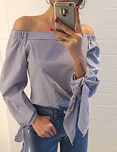 Women's Casual/Daily Sexy / Street chic Summer Blouse,Striped Boat Neck Long Sleeve Blue Cotton Thin – USD $ 15.99