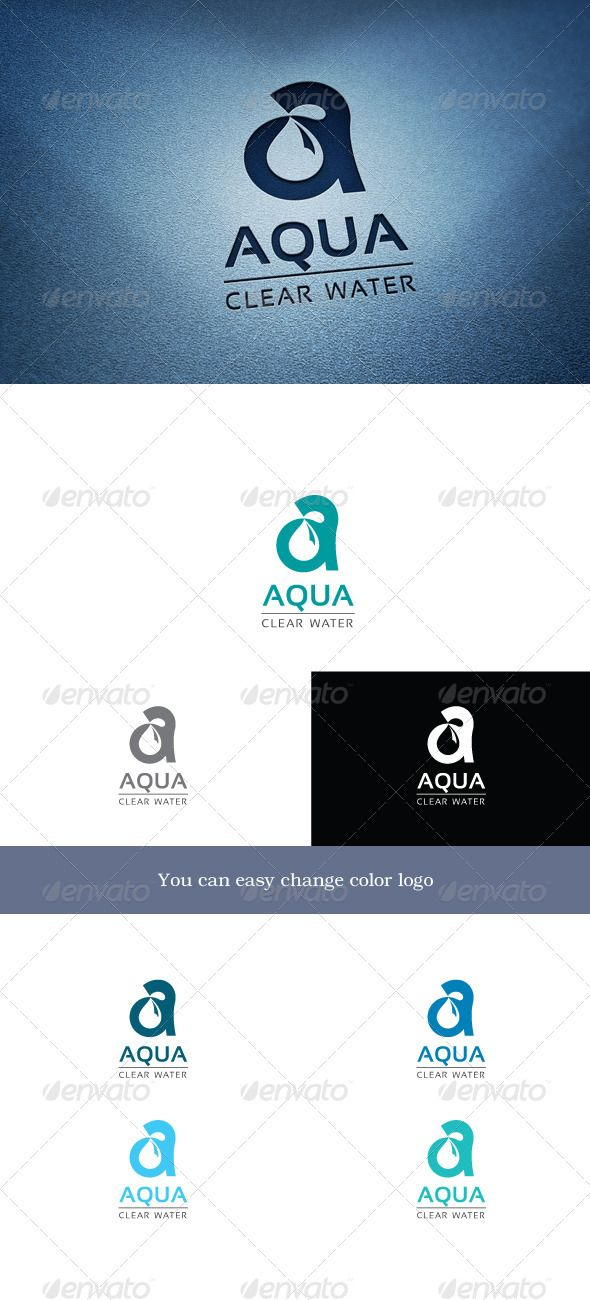 Aqua  #logo #water #letter A #purity #smoothness • Click here to download ! http://graphicriver.net/item/aqua/3403368?s_rank=29&ref=pxcr