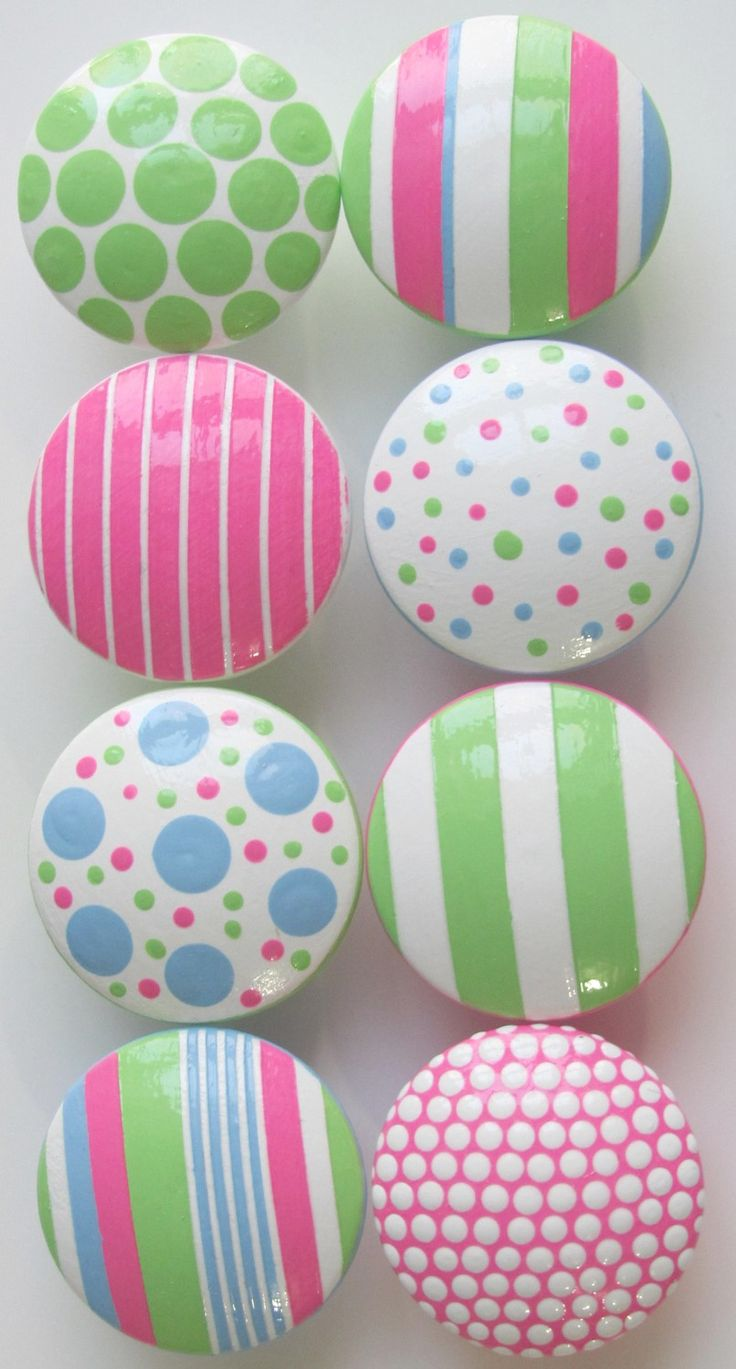 Hand Painted Dresser Drawer Knobs Cotton Candy Stripes and Polka Dots Set of 8. $52.00, via Etsy.