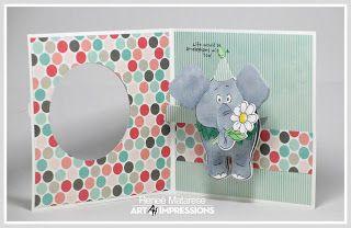Art Impressions Stamps Ai Popcards Elephant Popcard Aicl4856 Handmade Interactive Card Art Impressions Interactive Art Kids Cards