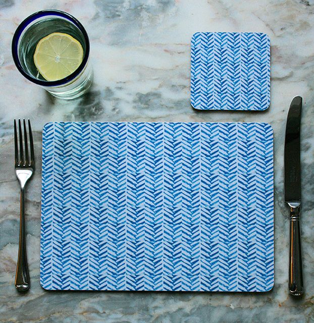 """""""Herringbone"""" Design Placemats (4 for £25) & Coasters (4 for £12). The ideal accessory to bring colour and pattern to your kitchen or dining table.  Made in England, this set of 4 heat resistant, melamine mats feature original The Humble Cut potato printed artwork.  Heat resistant to 145ºC, wipe clean with a cork back. #herringbone #placemats #coasters"""