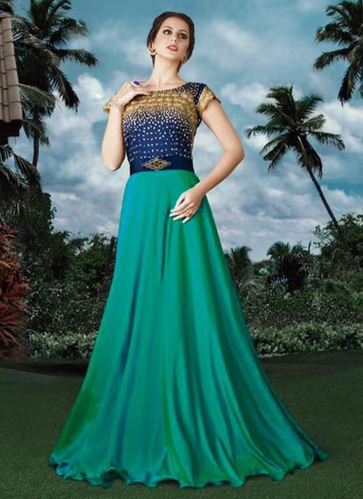 Buy Zesty Blue and Green Fancy Fabric Designer Gown  #gown #ethnicgown #anarkaligown #weddinggown
