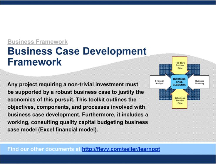 https://flevy.com/browse/strategy-marketing-and-sales/business-case-development-framework-199/ref/documentsfiles/ The Business Case is an instrumental tool in both justifying a project