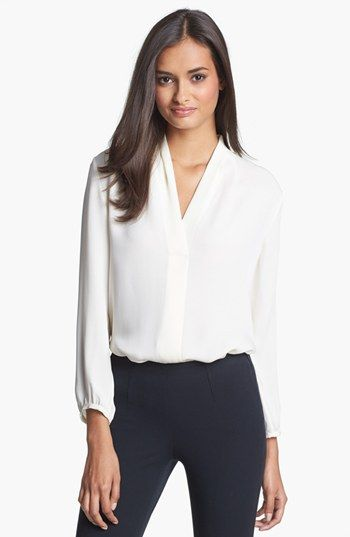 Elegant and great for work.  Theory 'Helona' Silk Blouse available at #Nordstrom