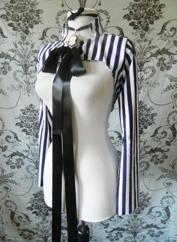 Lucille steampunk Victorian cropped circus stripe jacket-size small, ready to ship prototype. $80.00, via Etsy.
