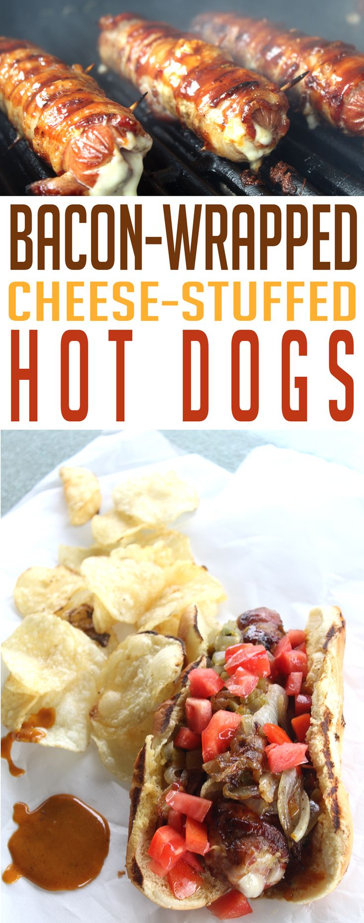 Bacon-Wrapped, Cheese-Stuffed Hot Dogs with our super secret Sweet & Spicy Mustard Sauce. Get to the grill!! via @Buy This Cook That