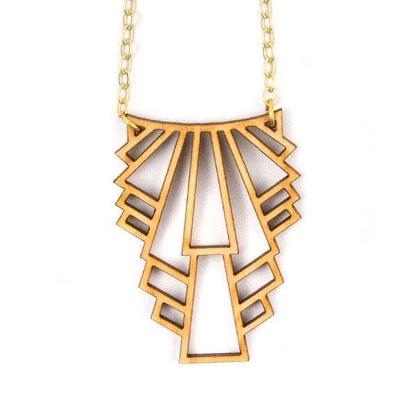 Layer this art deco-inspired wooden necklace with shorter necklaces for a perfect spring look.