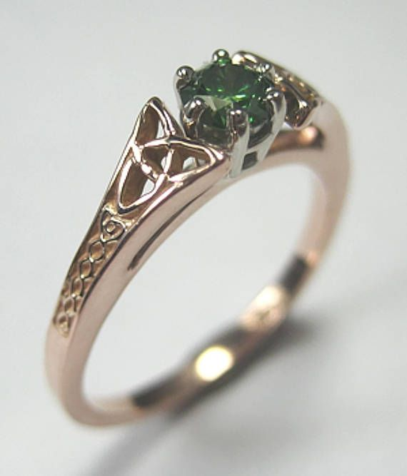 14kt Rose Gold Celtic Bridged Marishelle Green Diamond Ring - beautiful Irish Knot Work with Gorgeous Genuine Green Diamond - .25ct