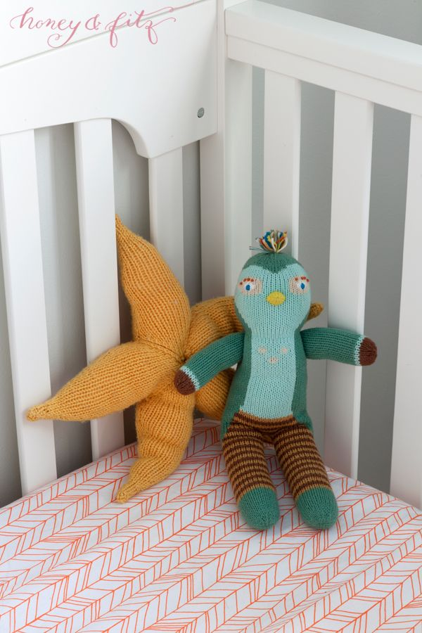 Project Nursery - Honey-and-Fitz-Benedict's-Icelandic-Blue-and-Orange-Nursery-Crib-Blabla