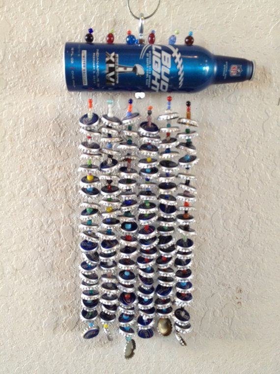 Wind Chime Bud Light Beer Caps Super Bowl XLVI Champs Crowns Beer Cap Art New York Giants Recycled