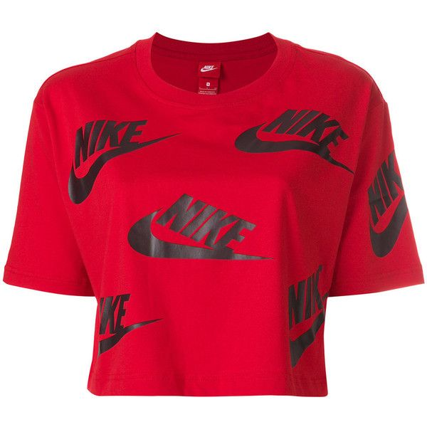 Nike logo print T-shirt ($33) ❤ liked on Polyvore featuring tops, t-shirts, red, short sleeve tops, nike tops, red t shirt, american tees and cotton tees
