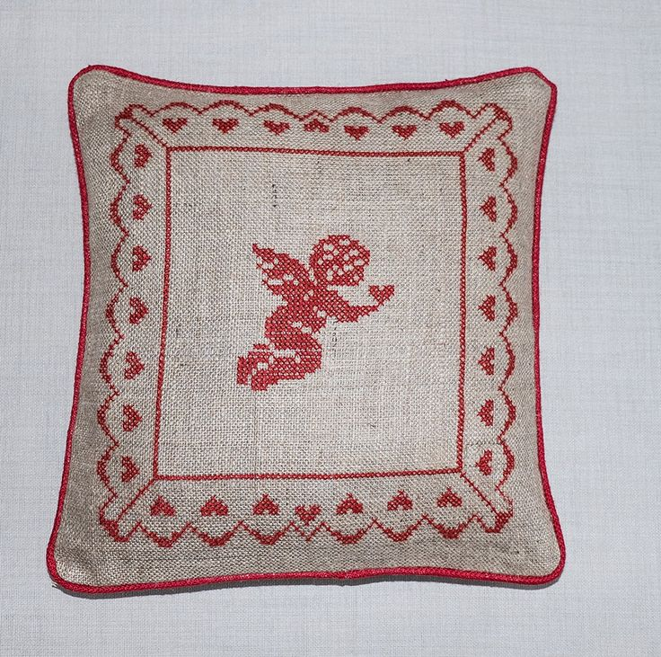 Decorative Handmade Burlap Pillow Cover, Gift Pillow, Needle Point Burlap Pillow, Mother's Day Gift, Angel Design Pillow Cover by TheSilknCotton on Etsy