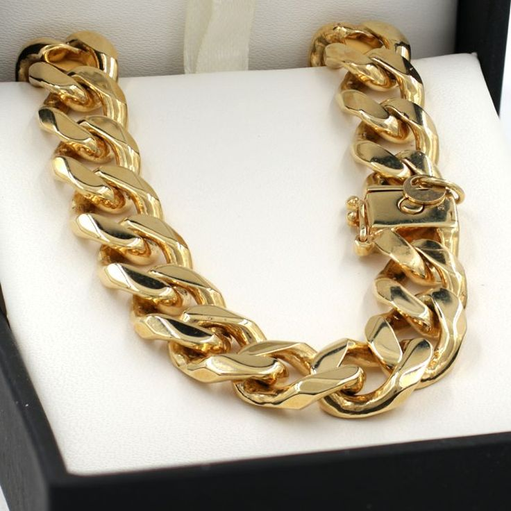 55cm Yellow Gold Bevelled Curb Chain Necklace - GN-BCD300BC