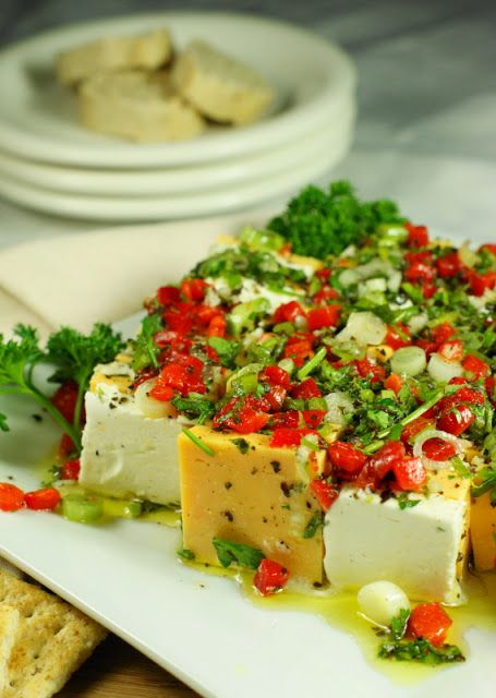 Marinated Cheese ~ a beautifully colorful & absolutely delicious party food! www.thekitchenismyplayground.com
