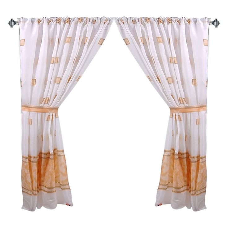 """Faux Marble & Tile Pattern 34""""x54"""" Fabric Window Curtain with Tie-Backs, Tan"""