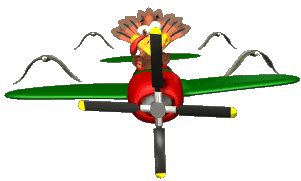 GIFs GIF GIFs Animated Animations Animation Images 3D: Turkey Flying Plane Animated GIF