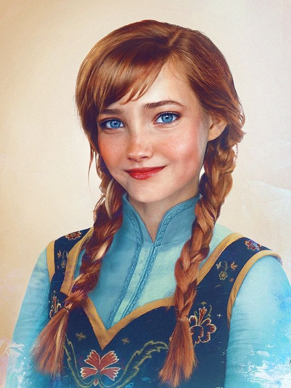 Anna. Finnish artist Jirka Vaatainen interprets what he believes Disney characters would look like as real people in his illustrations.