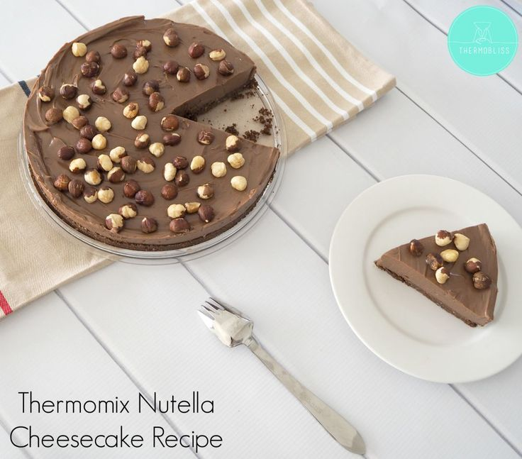 You are going to fall in love with this easy no bake Thermomix Nutella Cheesecake recipe!