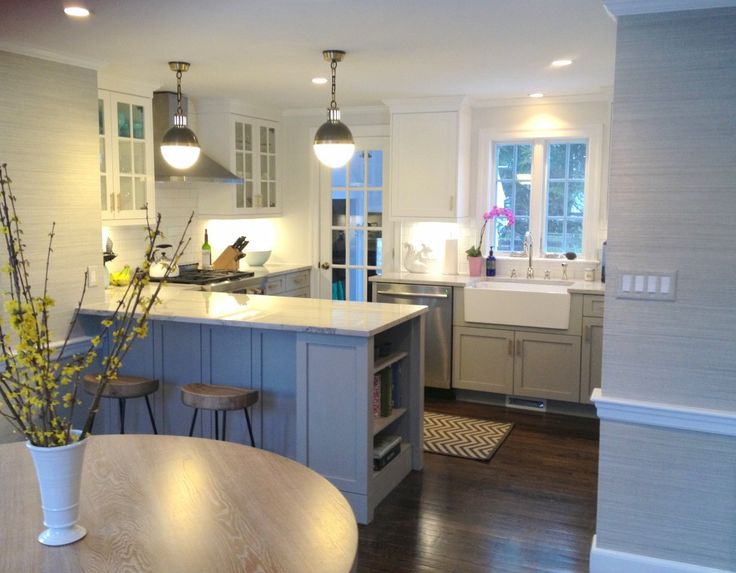 kitchen remodel by Erin Gates - love the two toned cabinets, subway tile and grasscloth. just perfect!