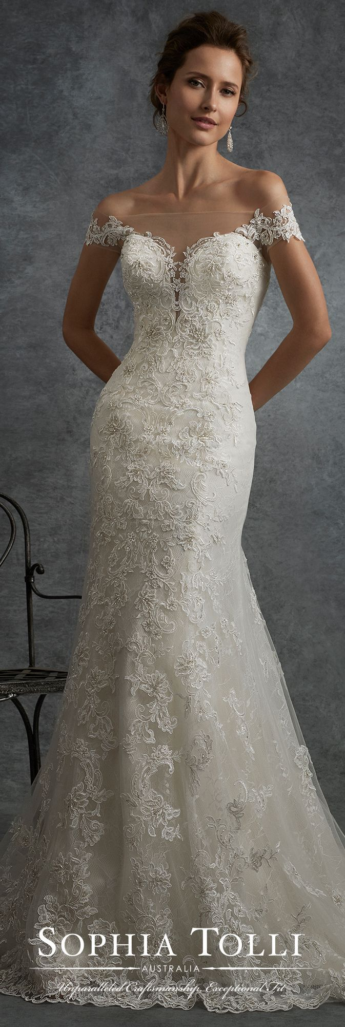 Sophia Tolli Fall 2017 Wedding Gown Collection - Style No. Y21752 Cassiopeia - off-the-shoulder tulle and lace fit and flare wedding dress with low illusion back adorned with lace