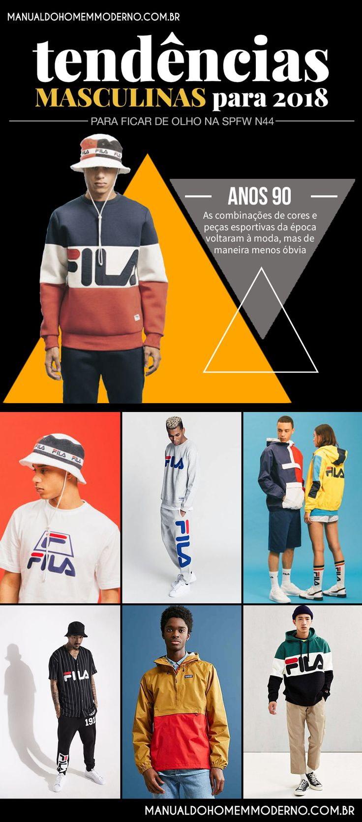 O resgate de peças de roupas e combinações de cores dos anos 90 prometem ser umas das principais tendências masculinas em 2018.