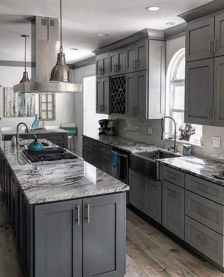 25 Grey Kitchen Ideas Modern Accent Grey Kitchen Design In 2020 Classic Kitchen Design Grey Kitchen Designs Kitchen Layout