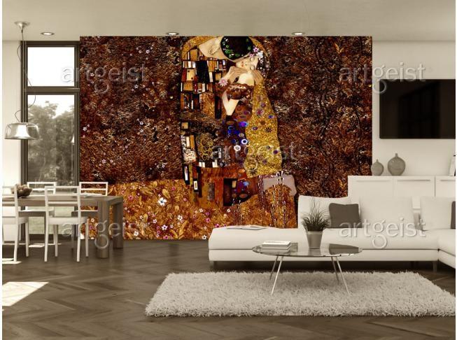 Papier peint inspiré de la peinture de Klimt est une décoration idéale pour les personnes qui aiment l'art #klimt #baiser #papiepeint #papierspeints # wallpapers #art #homedecor #art