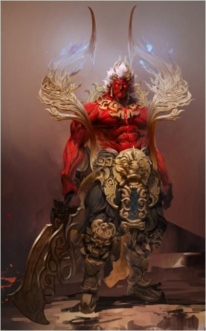 Braga the destroyer. Raijin's wrath Deity concept COL red and gold