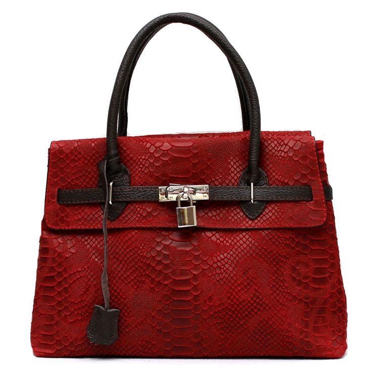 Kožená kabelka Cocodrille červená