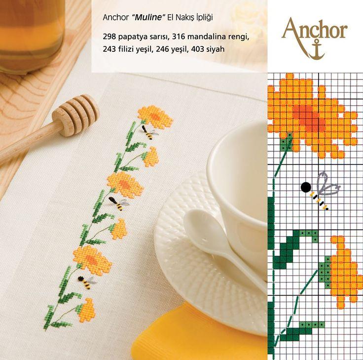 Anchor mulinelerle desenli masa örtüleri elde edebilirsin.