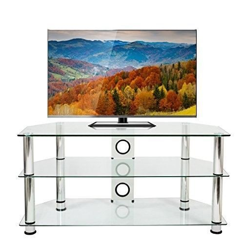 "Clear Glass TV Stand 32-60"" LCD LED Plasma Wx105cm Chrome Legs Cable Management #ClearGlassTVStand #Contemporary"