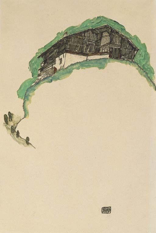 Farmhouse on the hill, Egon Schiele. (1890 - 1918)