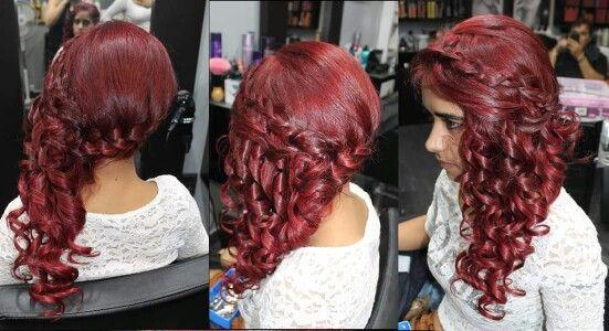 Penteado com tranças#vermelho#fogo