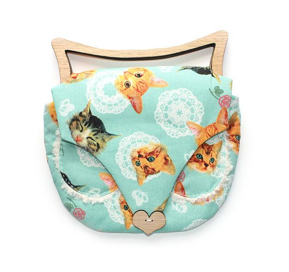 Cat Bag  - wooden handles for ears... cutest cat fabric!
