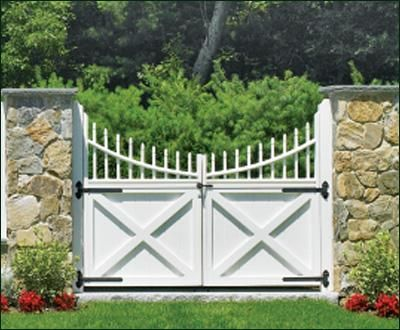 Cellular PVC Double Spindle Top Gate | Entrance Gates, Wood Gates, and more from Walpole Woodworkers