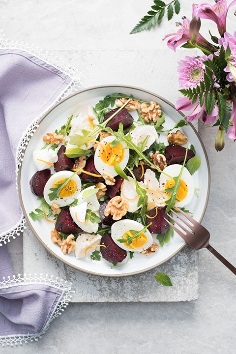 INGREDIENTS BY SAPUTO   This colourful, hearty salad recipe is a must-try! Made with arugula, hard-boiled eggs, roasted red beets and walnuts, it's the ideal way to showcase Saputo Bocconcini cheese. What could be better than a quick meal idea with fresh ingredients?