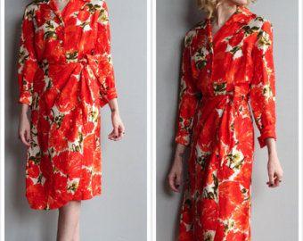 1950-й платья // Orange Blossom Шелковый саронг платье // марочный 50s платье