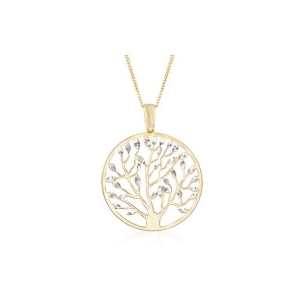 Ross-Simons Italian Gold Over Silver Tree of Life Pendant Necklace. 18... ($45) ❤ liked on Polyvore featuring jewelry, necklaces, yellow gold jewelry, yellow gold necklace, gold jewellery, silver gold jewelry and curb link necklace