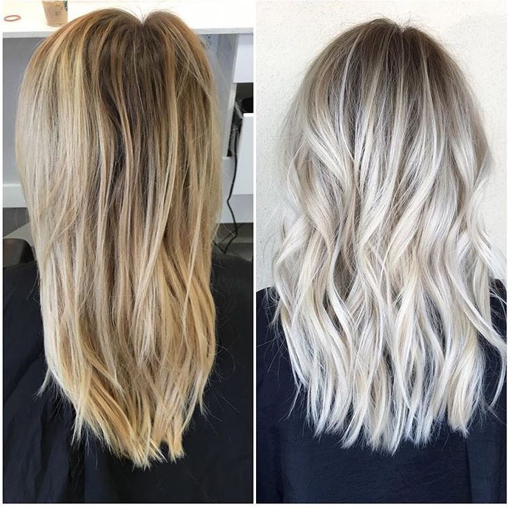 Before and after icy blonde with shadowed roots Habit Salon, AZ