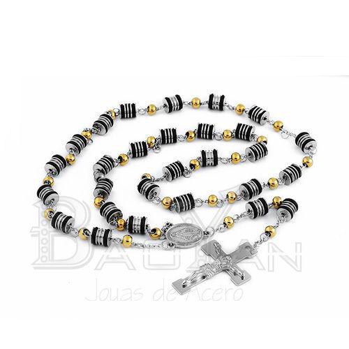 Barato Silver stainless steel gold beads celtic cross necklace, Compro Qualidade Colares com pingente diretamente de fornecedores da China:  Prata aço inoxidável colar de contas de ouro cruz celta  SSNEG28079