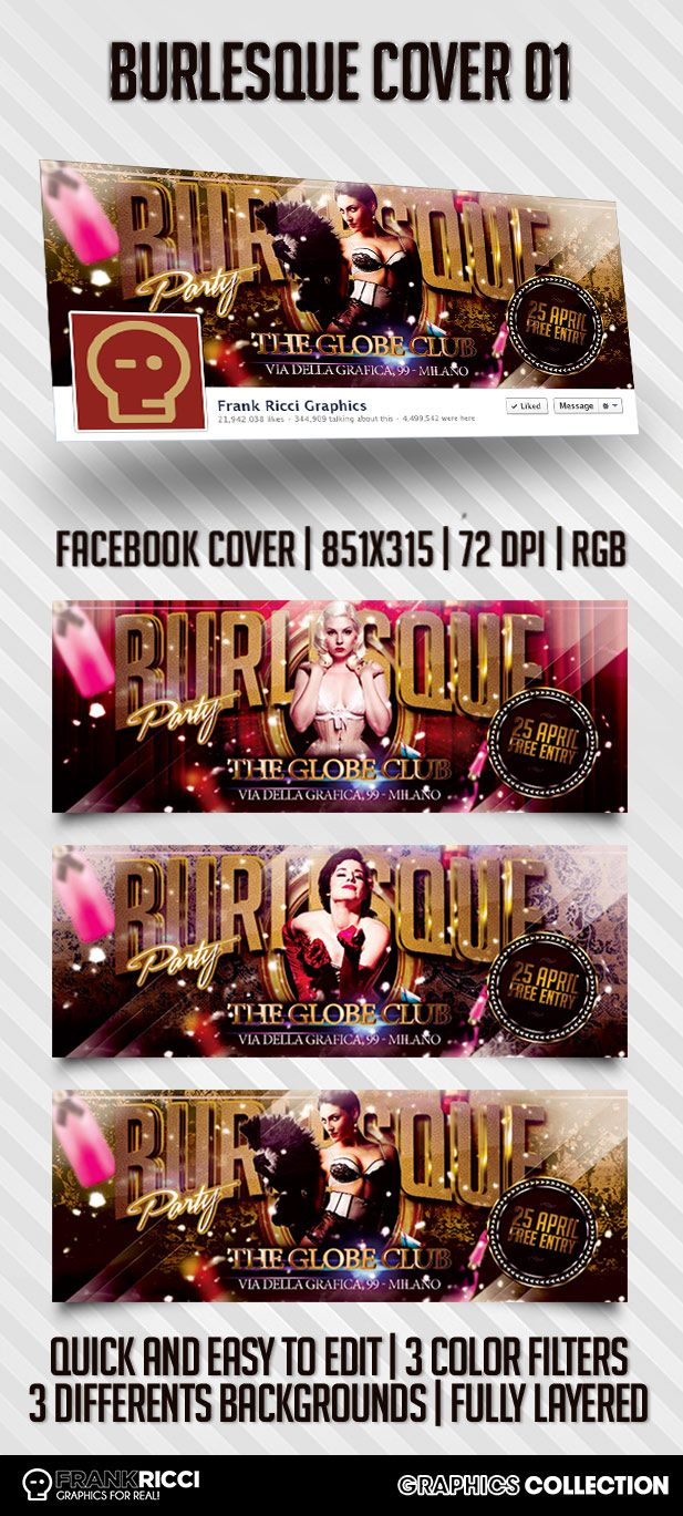 Cover Facebook Burlesque Template 01 - Available on http://frankricci.it/burlesque-cover-01/