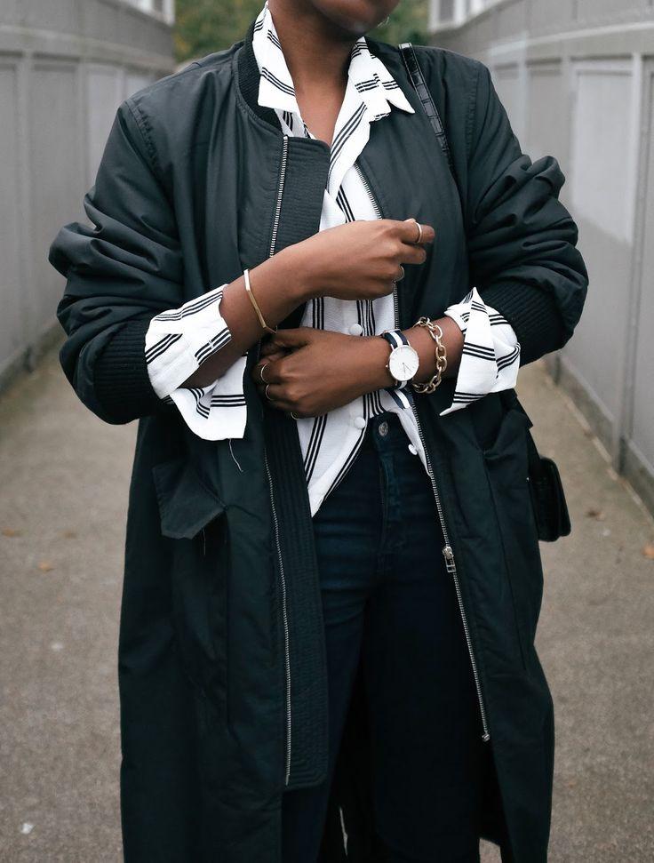 H&M Long Bomber Jacket Missguided Striped Shirt Mango Skinny Jeans UK Fashion Blogger