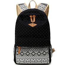 Unisexe à Dos en toile sacs d'école pour les adolescents mignon Dot impression femmes sacs à Dos Bookbag étudiants Mochilas Feminina Sac à Dos(China (Mainland))