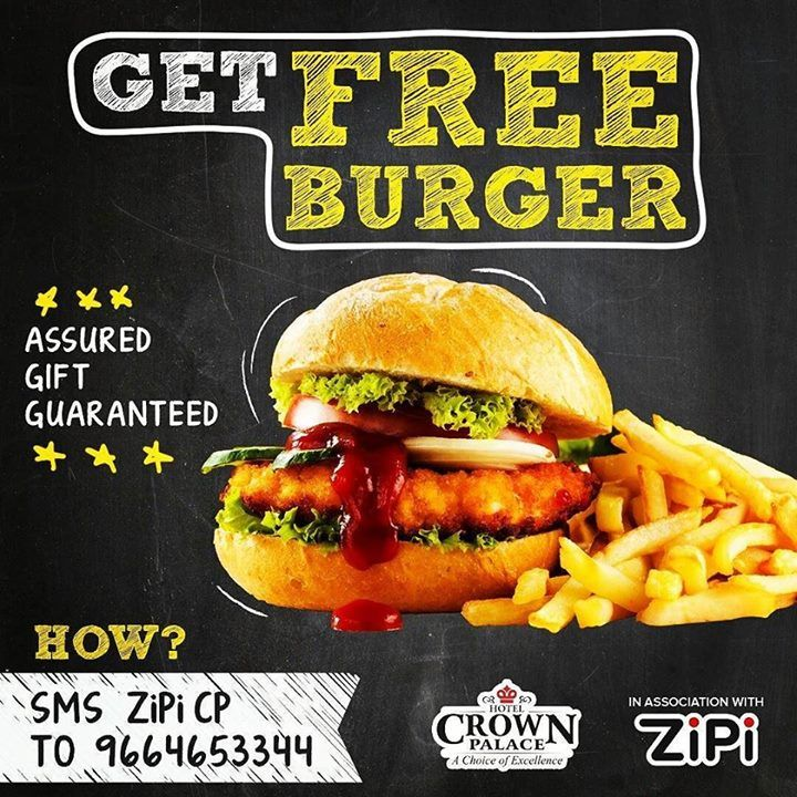 Get a free burger and much more at Cafe Bakewell Hotel Crown Palace Assured Prizes for everybody To Get your free burger Sms zipi cp to 9664653344 #bestplacetoeat #freeburger #cpindore #cafebakewell #burger #indorizayka #indorefoodexplorer #indore #eat #zipi #assuredgifts http://ift.tt/2ab8G37 - http://ift.tt/1HQJd81