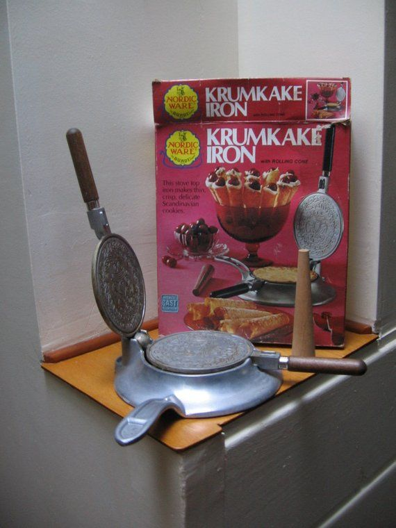 Vintage 60 70 Heavy Cast Aluminum Scandinavian Krumkake Iron Nordic Ware Wood Handle Iron With Stove Top And Roll Nordic Ware Special Gifts Norwegian Cookies